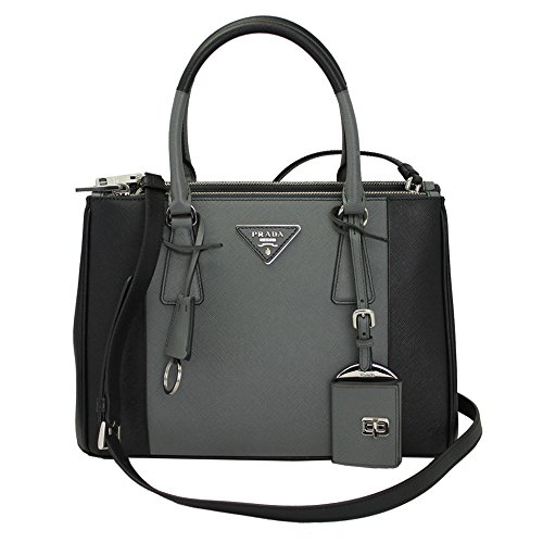 Prada-Black-Gray-Leather-Tote-Bag-With-Shoulder-Strap-1BA863-NEROMERCURIO