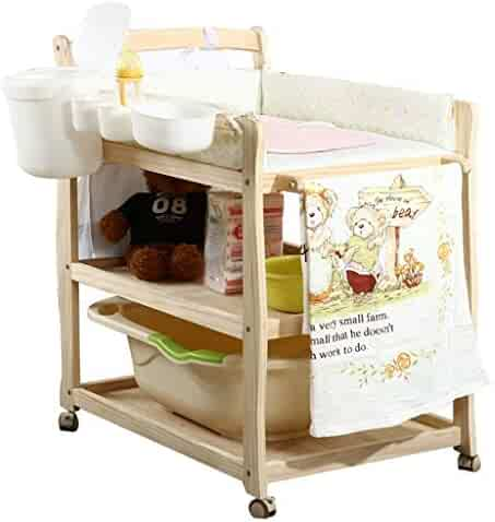 Safety Baby Changing Table Diaper Station for Small Spaces, Portable Nursery with Safety Straps and Wheels, Infant Massage Station Dresser for Home and Travel Best Choice