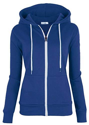 (MAJECLO Women's Casual Full-Zip Hooded Lightweight Long Sleeve Sweatshirt (Medium, Royal Blue))