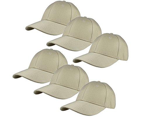 Gelante Plain Blank Baseball Caps Adjustable Back Strap Wholesale Lot 6-001-Khaki-6Pcs