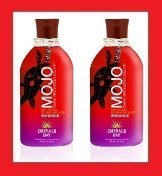(2 X EMERALD BAY MOJO HOT BRONZING BOTTLE SUNBED CREAM by Emerald Bay)