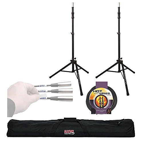Ultimate Support TS-100B Speaker Stand (2 Pack) Lift-Assist Aluminum Tripod Speaker Stand + Gator Speaker Stand Bag for Two + 'Label A Cable' + Instrument 10 ft Cable – Super Ultimate Support Bundle! by Ultimate Support