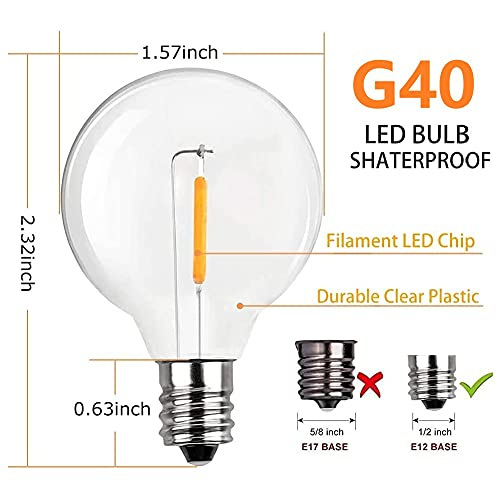 LED Replacement Bulbs G40 25 Pieces Shatterproof Bulbs Energy-Saving Bulbs, 0.6W, E12 Socket Base UL Listed for Indoor & Outdoor Use Patio Garden Pergola Porch Decor