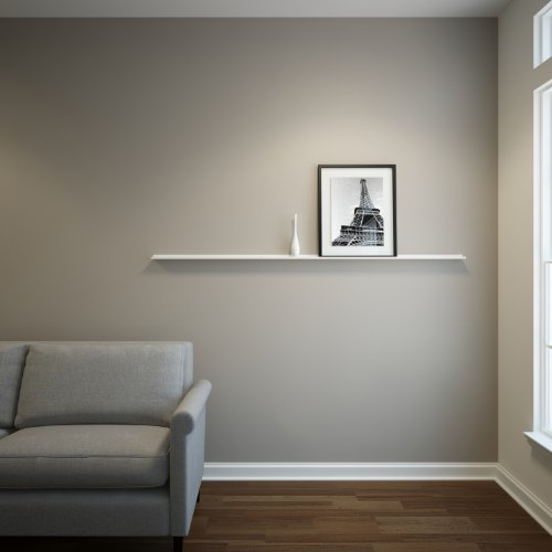 Floating Ledge Metal, Picture, Photo and Art Display, Modern Shelf 6Ft Long by 2 in Wide (6FTW20IN, White) (Wall Long 6 Shelf Foot)