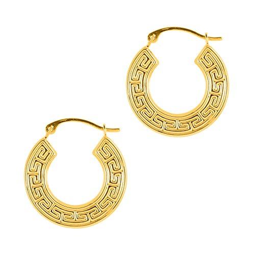 (Ritastephens 14k Yellow Gold Greek Key Square Tubular Hoop Hoops Earrings 18 Mm)