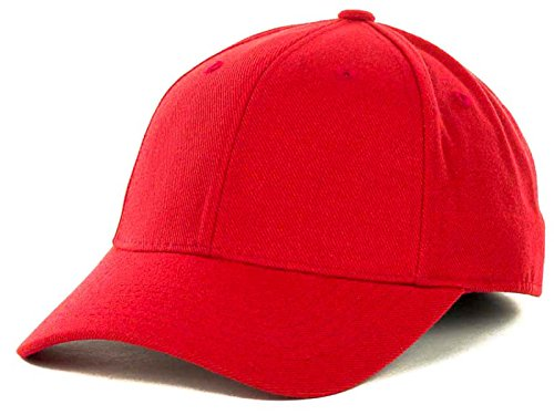(Top Of The World By Lids JV HOME RUN Boy's One-Fit Stretch Fitted Blank Baseball Hat Cap (Youth, Red))