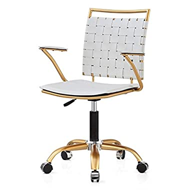 MEELANO 356-GD-WHI Office Chair, White/Gold