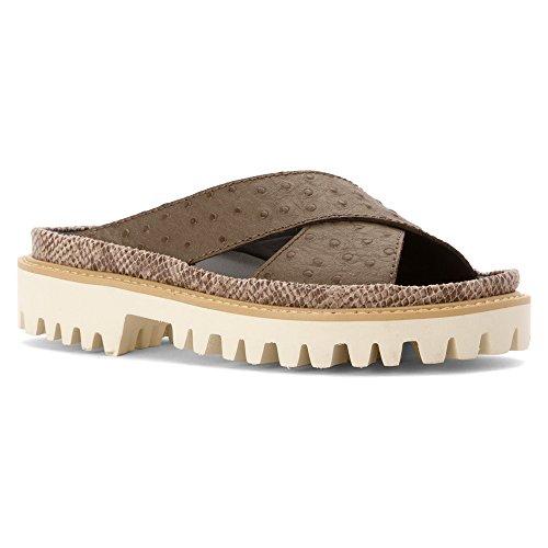 Alle Zwart Geperste Cross-sand Sandaal Vrouwen Ons 6 Bruine Dias Sandaal