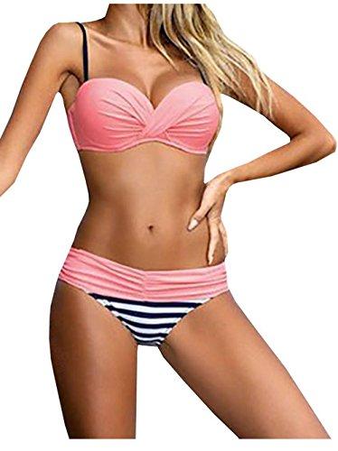 Bong Buy Push Up Two Piece Bikini Swimsuit Candy Patch Padded Swimwear (M Pink)