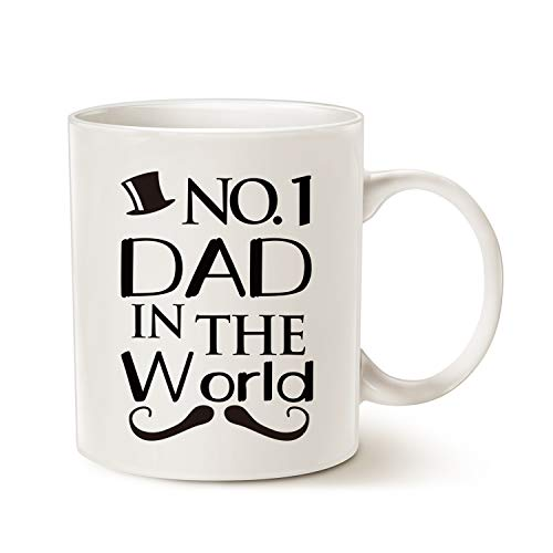 MAUAG Fathers Day Gifts Funny Mustache Dad Coffee Mug Christmas Gifts from Daughter or Son, NO.1 Dad in the World, Best Birthday Gifts for Dad Father Cup White, 11 Oz
