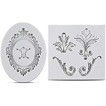 SAKOLLA Vintage Relief Cake Border Mold - Flourish Scroll Lace Vintage Frame Jewellery Medallion Silicone Mold for Cupcake Topper Decoration Polymer Clay Projects (2Pcs)