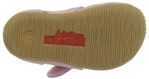 Living Kitzbühel Baby Klett Leder Mit Goldernen Punkten - Zapatillas de casa Bebé-Niños Pink (Kristallrosa)