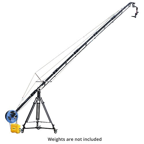 PROAIM Alphabet 21ft/6.4m Camera Jib Crane Package, Sr. Pan Tilt Head, Tripod Stand, Dolly, Power Pack + Carry Bag | Best Travel/Filmmaking/Wedding/Video Jib| Gimbal Compatible (P-A21-JCP)