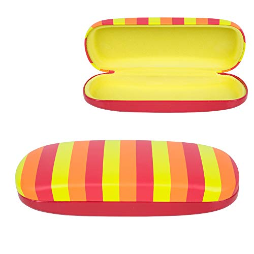 Glasses Hard Case For Frames and Sunglasses - Red Striped Protective Holder with Soft Yellow Felt Interior - By OptiPlix