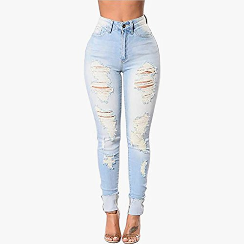 - Gemgeny Women Skinny Denim Sexy Hole Jeans Distressed Jeans Tron Boyfriend Stylish Pencil Jeans (Light Blue, XL)