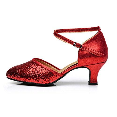 Toe Sequins Cross Low 5 Heel Sole Closed Red Straps Kitten Heel Women's 5 Ballroom Leather Shoes Latin Practice wdqEtZ