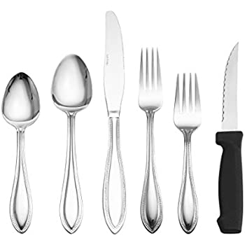 International Silver American Bead 53-Piece Stainless Steel Flatware Set with Serveware, Service for 8