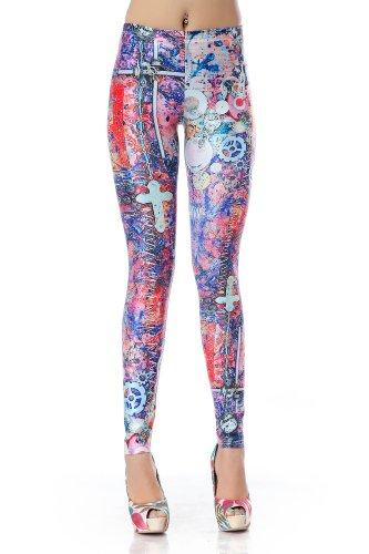 LoveLiness Colourful Gears Cross Print Leggings One Size Multicolor (One Size, Multicolor)