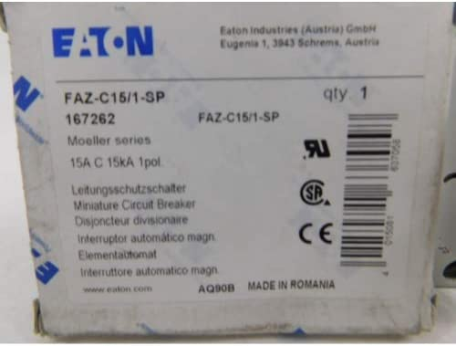 Eaton FAZ-C15 1-SP 15A, 1P, 277V AC, 48V DC, 10 kAIC, B-Curve, UL 1077