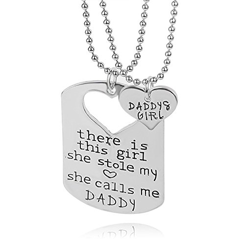 - Meiligo Retro 2 PCS Father Mather Gift these is this girl she stole my heart Daddy Mommy Tag Necklace Lettering Dog Tag Memorial Necklace (Necklace Set-Dad Gift)