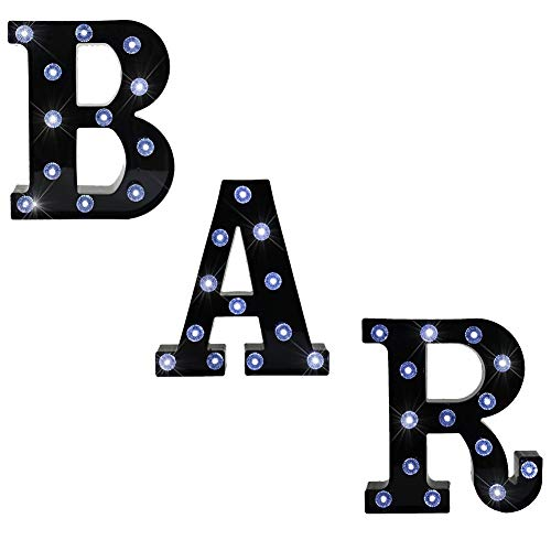 BAR - Illuminated Marquee Bar Sign - Lighted LED Marquee Word Sign - Pre-Lit Pub Bar Sign Light Battery Operated (23.03-in x 8.66-in) (Black BAR - Diamond Glow) ()