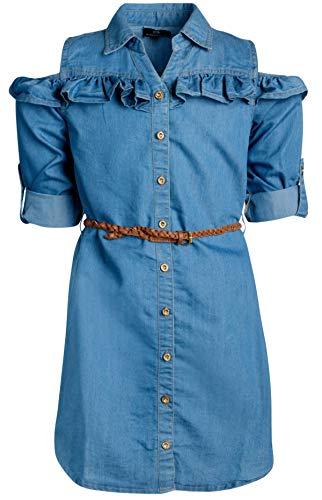 dollhouse Girls Belted Denim High-Low Chambray Dress (10/12, Light Cold Shoulder)\''