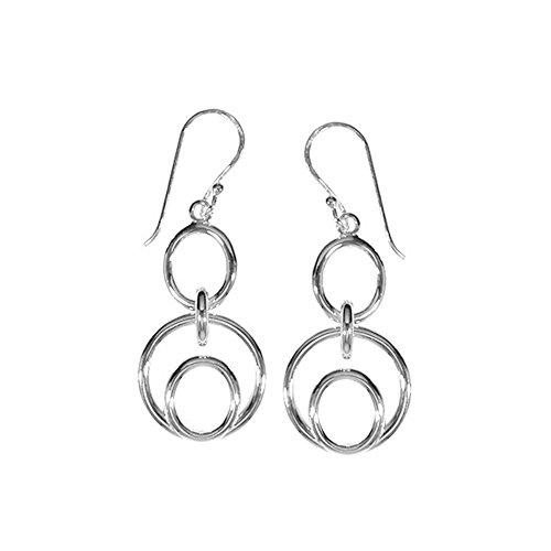 Circle Link Drop Earrings (Sterling Silver Circle Link Earrings)