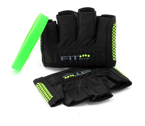 The Gripper Glove | Fit Four Callus Guard Fitness Gloves for WODs, Weightlifting & Cross Training Athletes - Enhanced Silicone Grip Palm (Green, Medium)