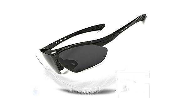 f55e16eaae Blueqier Gafas de Sol Deportivas Gafas de Sol Deportivas polarizadas Gafas  de Ciclismo con 5 Lentes Intercambiables para Hombres Mujeres (Negro) Gafas  de ...