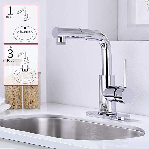 蛇口、抽出槽二スプレーパターンと360°回転ミキサーキッチンシンク、小さなキッチンは、磁気結合クロム蛇口,(蛇口プレートなし)クロム