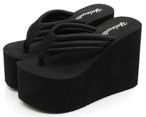 IDIFU Women's Comfy Wedge Platform Thong Sandals with Heels Beach Holiday Summer Flip Flops Black 8 B(M) - Platform Thong Shoes