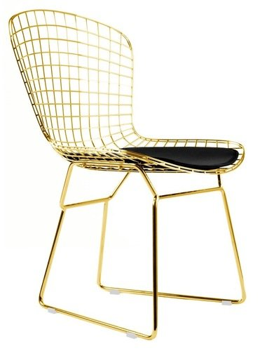 Bertoia Style Side Chair In Gold Finish (Black Pad)