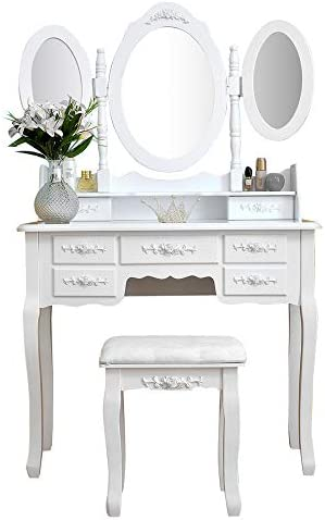 Makeup Vanity with 7 Drawers, Dressing Table withTri-Folding Mirror and Cushioned Stool, Makeup Table Writing Desk with Removable Top, Makeup Vanity Set for Girls White