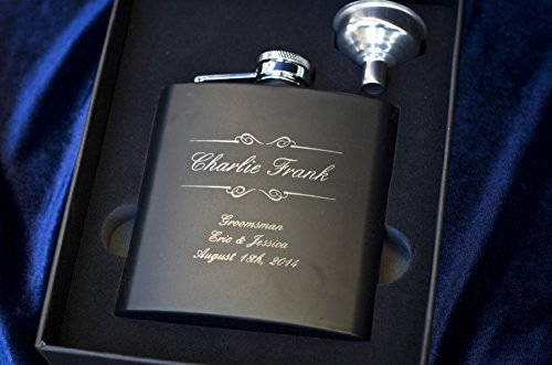 Personalized-Flask-Set-Engraved-Custom-Flasks-Groomsmen-Gift-Groomsman-Gifts-For-Men-Wedding-Favor-Customized-Wedding-Monogrammed-Father-Man-Hip-Gift-Set-w-Box-304-Steel-Matte-Black-2pc-Set