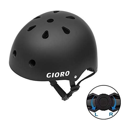 GIORO Skateboard Helmet Impact Resistance Safe Helmet with Ventilation Multi Sport for BMX Bike Skate& Scooter,Dual Certified CPSC Adult &Kids Adjustable Dial Helmet-Multiple Colors&Sizes (Black, S)
