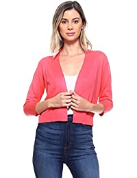 9ada9dc960 Women s Soft Solid Open Front 3 4 Sleeve Sweater Cardigan