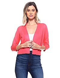 CIELO Women's Soft Solid Open Front 3/4 Sleeve Sweater Cardigan