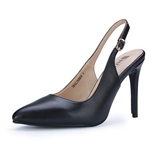 4 Inch Slingback Pump Shoes - IDIFU Women's IN4 Slingback Pointed Toe Ankle Strap Stiletto High Heel Dress Pump (Black PU, 8.5 B(M) US)