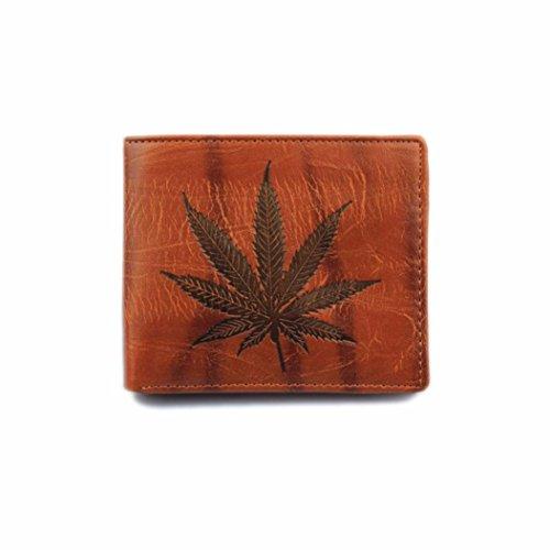 ZYUPUP Men Bifold Wallet Leaf Leather Card Cash Receipt Holder Organizer - Cash Men Sunglasses Back For