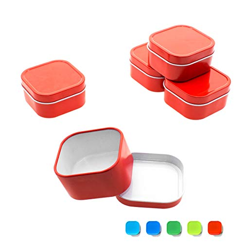 Mimi Pack 2 oz Tins 24 Pack of Square Slip Top Tin Containers with Lids For Cosmetics, Party Favors and Gifts (Red)