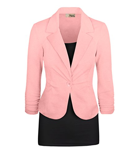 HyBrid & Company Women's Casual Work Office Blazer Jacket JK1131 350 Peach L (Sleeve Blazer Ruched)
