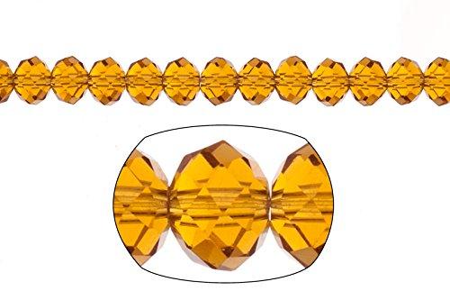 Crystal bead, facet rondelle, light topaz, 6x8mm