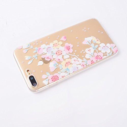 Funda iPhone 7Case ,iPhone 8 Case,TPU flexible Patrón de la moda [Shock-Absorción] [Anti-Arañazos] Slim Silicona Case Cover, Para iPhone 7/iPhone 7(4.7)-Diente de león Sakura