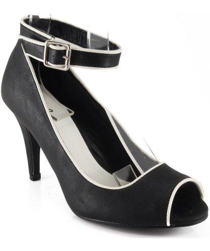 Qupid Ilicia-33 Ankle Strap Open Toe Pump BLACK (7)