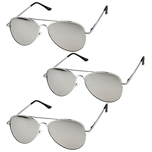 zeroUV - Classic Metal Frame Spring Hinges Color Mirror Lens Aviator Sunglasses 56mm (3-Pack | Silver) Classic Metal Frame Sunglasses