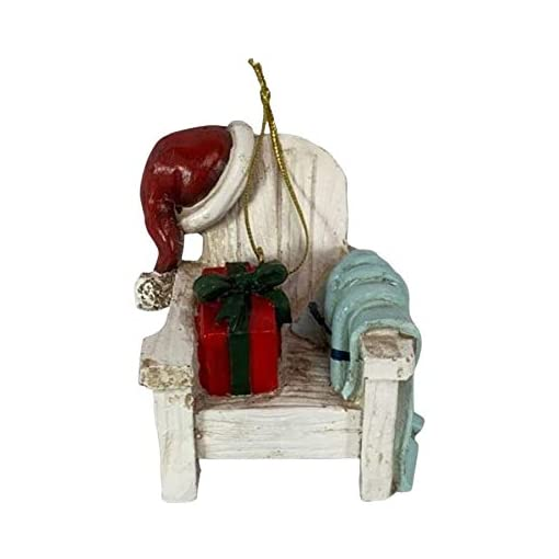 Beach Themed Christmas Ornaments Barry Owens Beach Chair with Santa Hat and Present Christmas Ornament, 2 1/2 Inch beach themed christmas ornaments