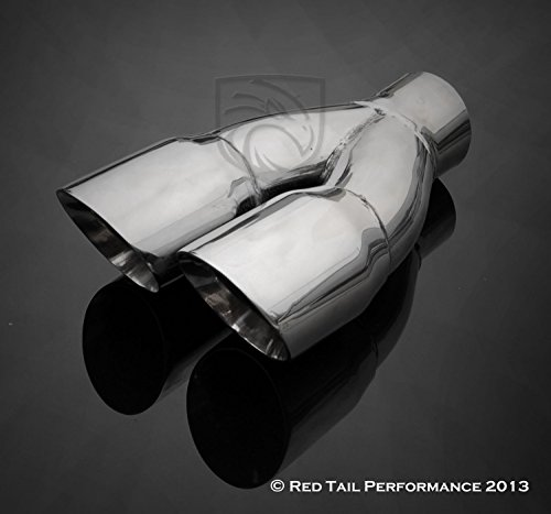 Mina Gallery Exhaust Muffler Tip Dual Round Staggered Forward Slash Cut Rolled Edge 2.5