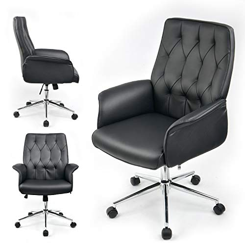 COMHOMA Modern Home Office Chair Vegan Leather Upholstered Executive Conference Stylish Design Adjustable Mid-Back Ergonomic Desk Chair Black