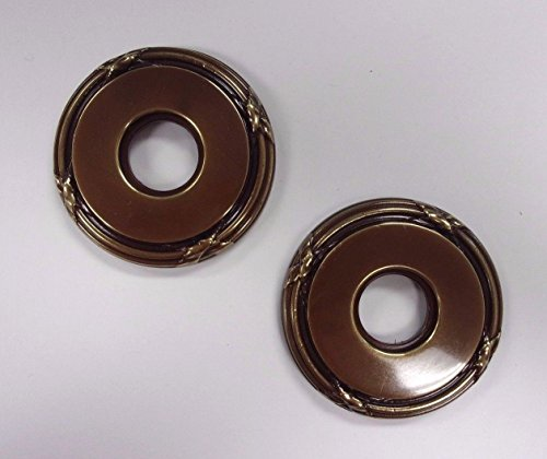 Baldwin Pair of Estate Roses Polished Brass & Brown 5021-037 - Pair Estate Roses
