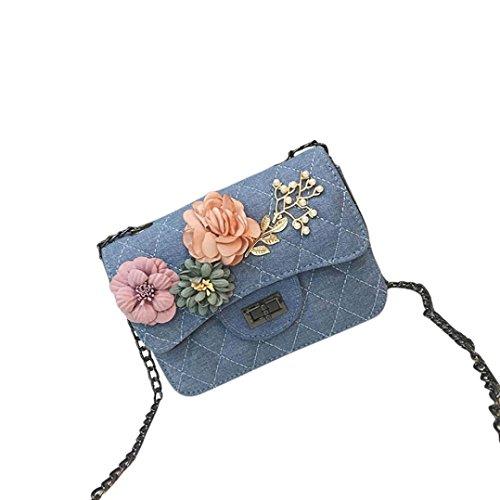 - Clearance!Women Bags❤️COPPEN Unique Canvas Applique Floral Handbag Phone Bag Shoulder Bag Tote Messenger Bag (Light Blue)